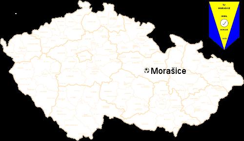 Mapa České republiky se zakreslenou polohou naeho klubu